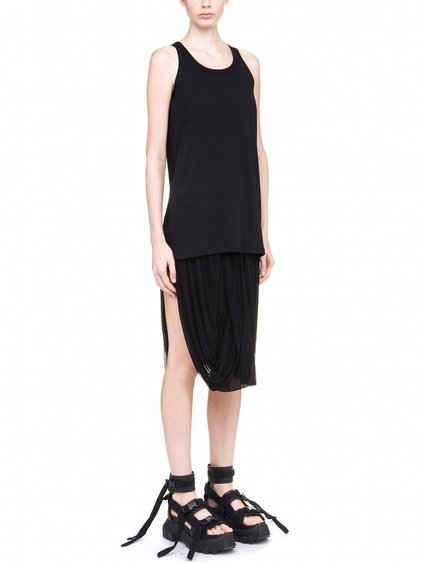 RICK OWENS DIRT TANK TOP IN BLACK MEDIUM-WEIGHT COTTON JERSEY