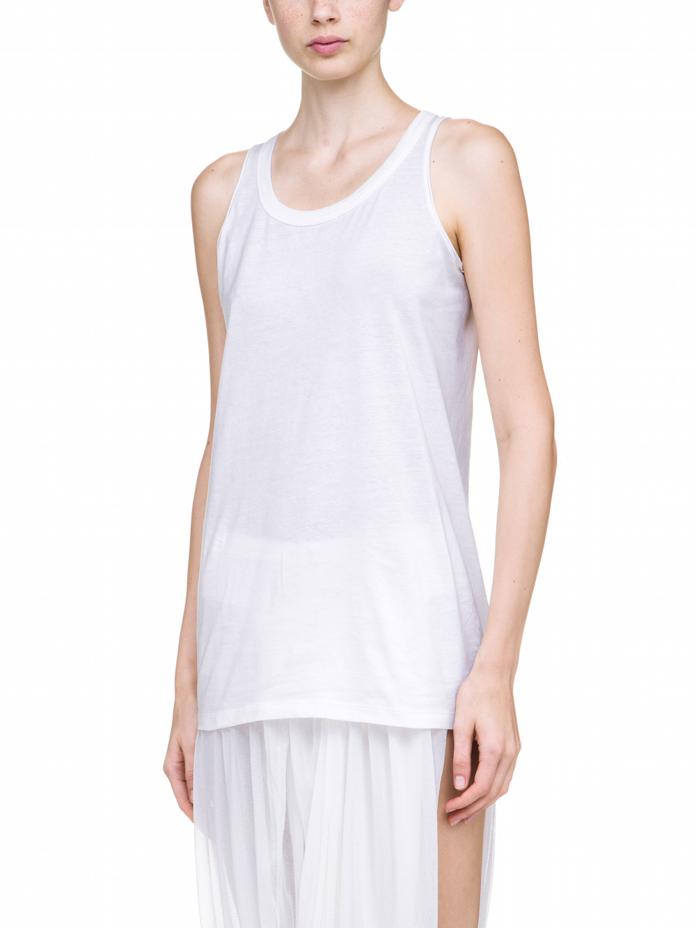 RICK OWENS TANK TOP IN CHALK WHITE MEDIUM-WEIGHT COTTON JERSEY
