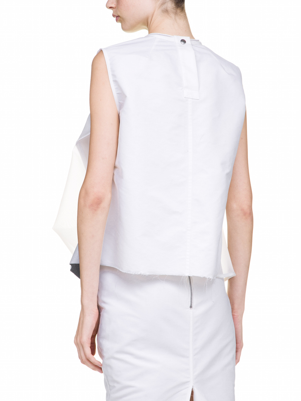 RICK OWENS INHUMAN TOP IN CHALK WHITE IS SLEEVELESS