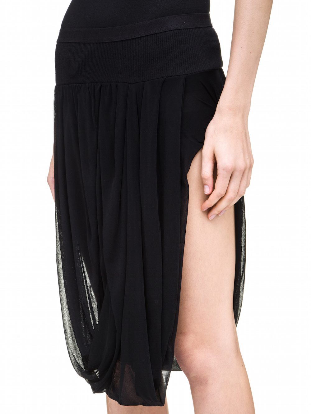 RICK OWENS DRAPED SKIRT IN BLACK