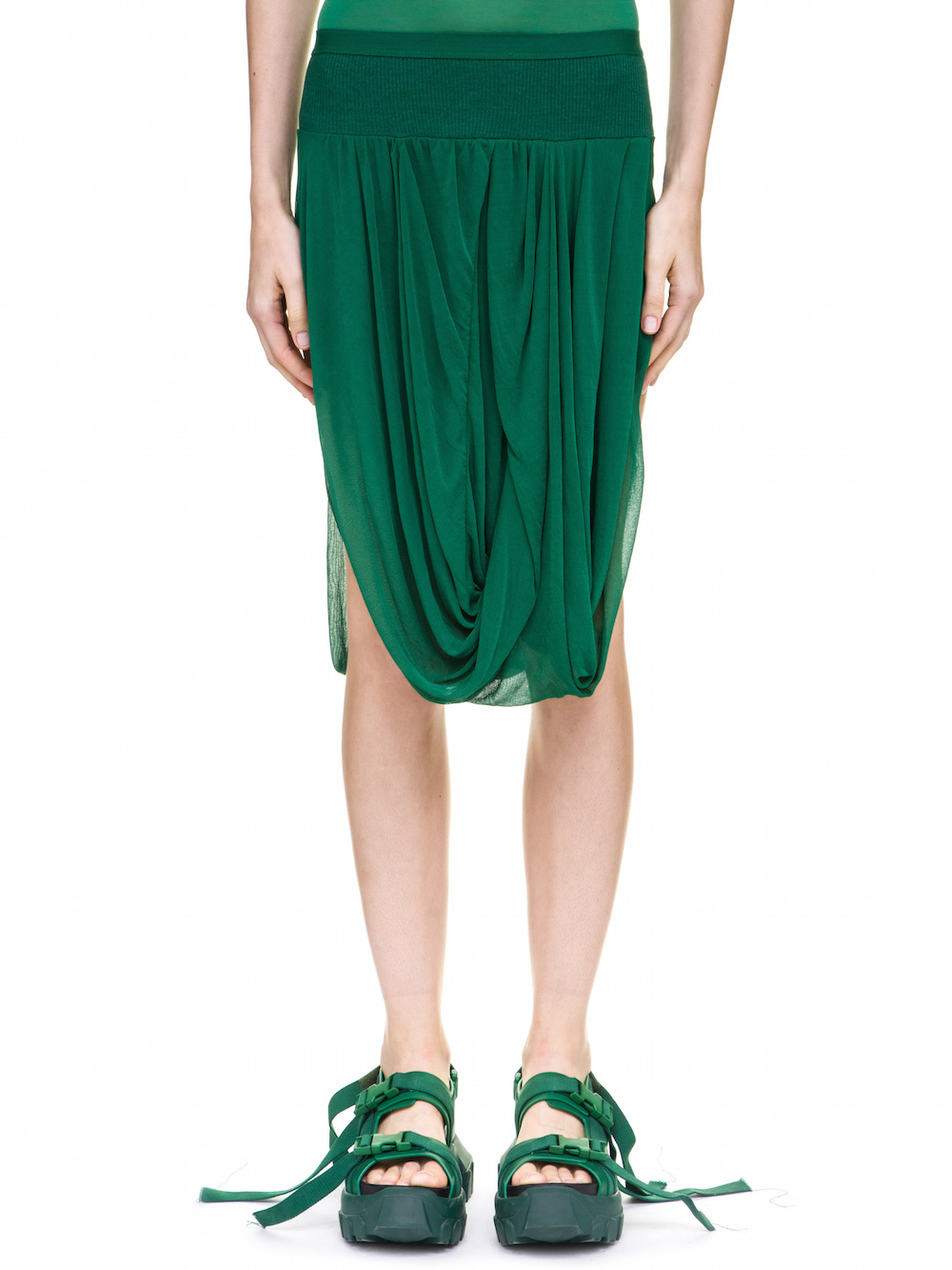RICK OWENS DRAPED SKIRT IN GREEN