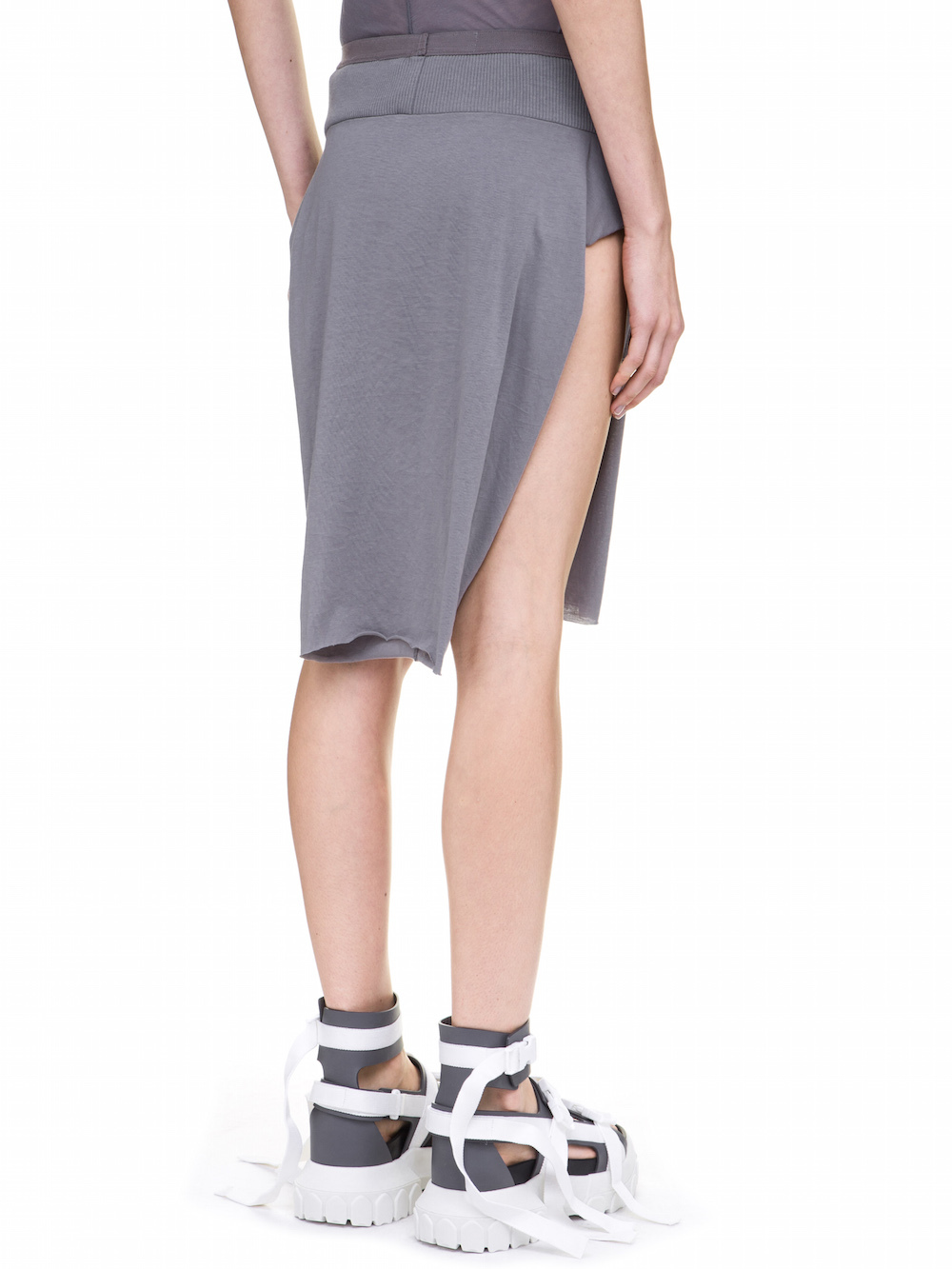 RICK OWENS LOIN SKIRT IN STONE GREY