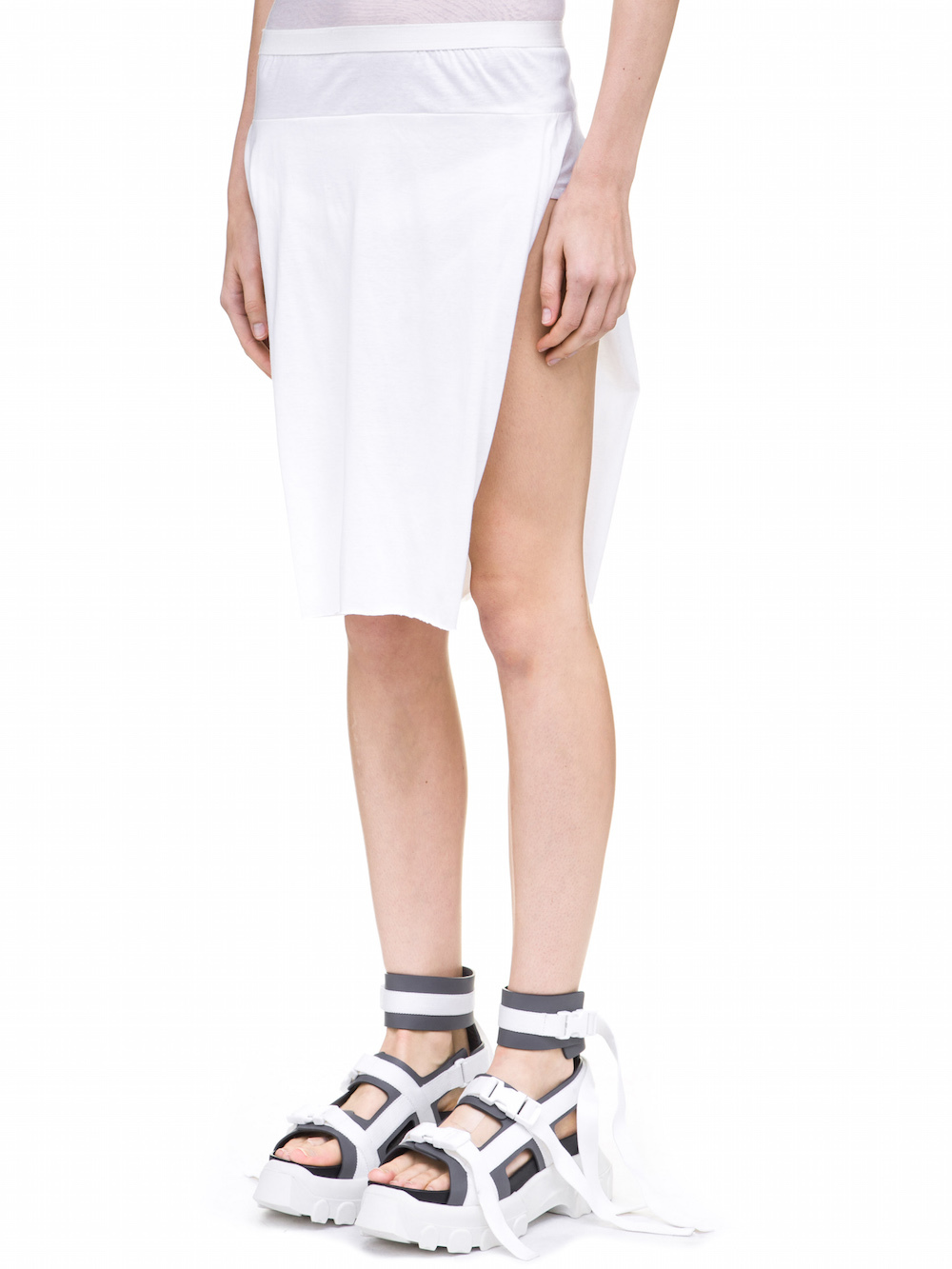 RICK OWENS LOIN SKIRT IN WHITE