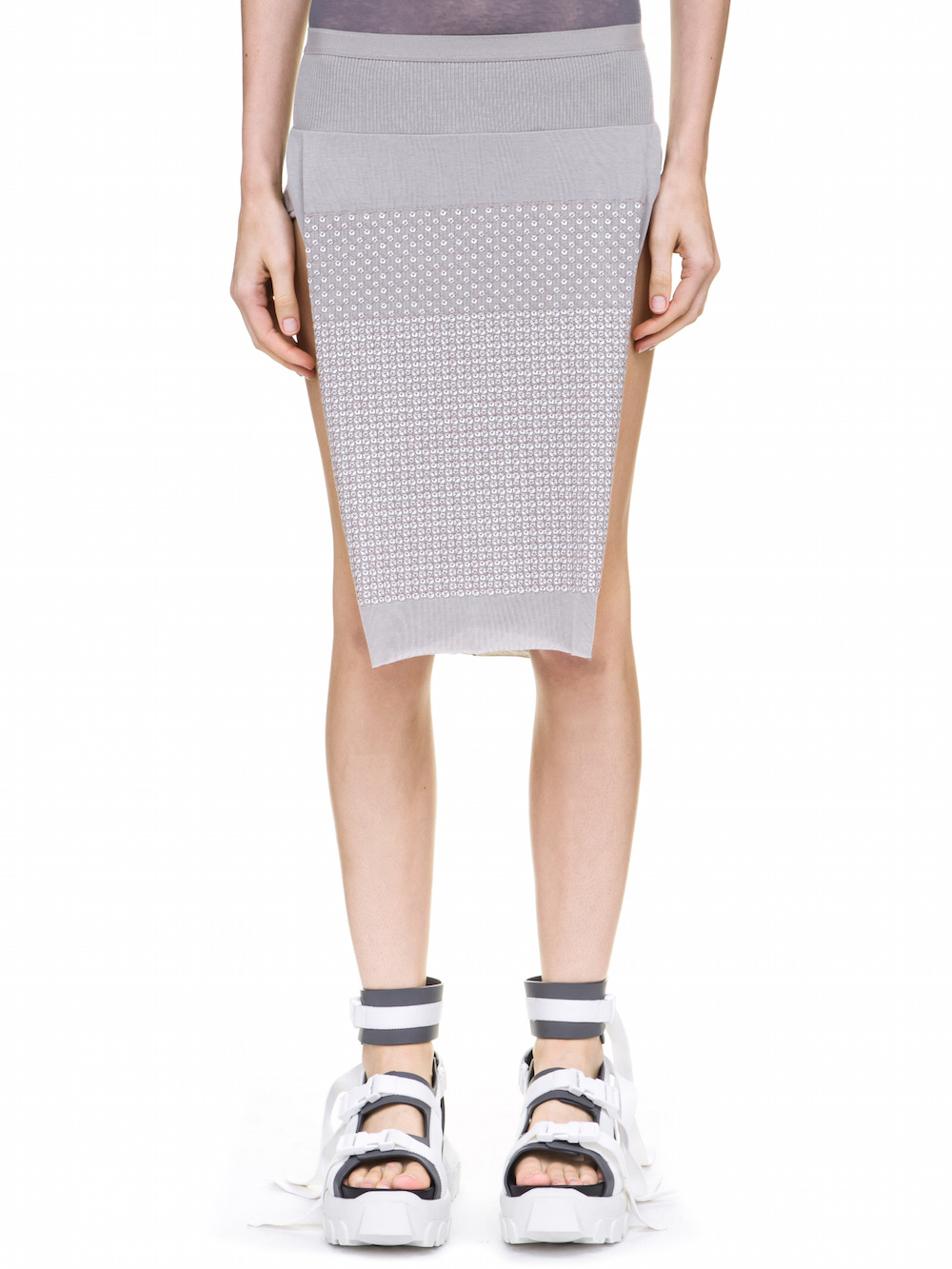 RICK OWENS LOIN SKIRT IN GREY COVERED BY WHITE SEQUINS