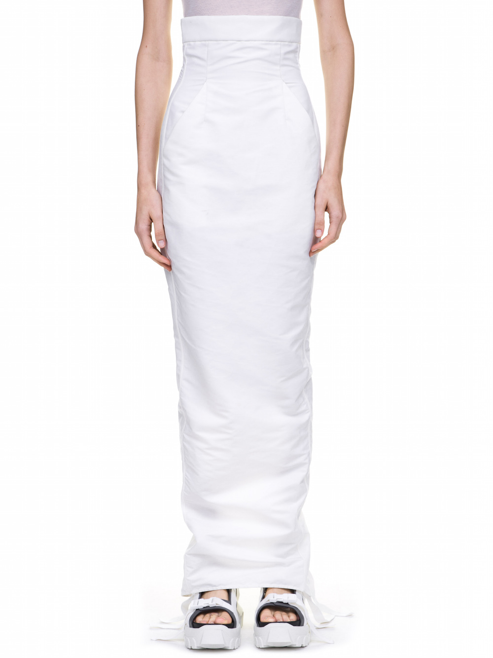 RICK OWENS DIRT PILLAR SKIRT IN WHITE TECH