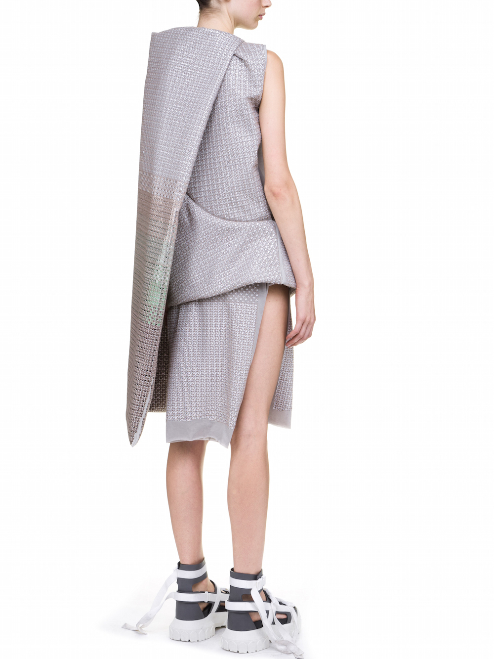 RICK OWENS MUSHROOM TUNIC IN GREY WITH SEQUIN