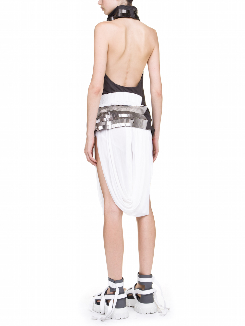 RICK OWENS ELIPSE TUNIC IN GREY COVERED BY  SILVER BUGLE BEADS