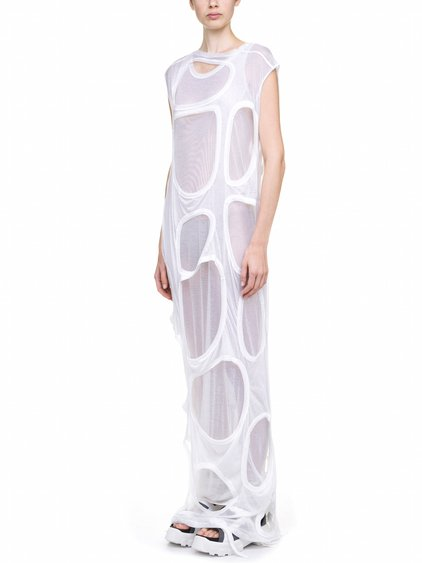 RICK OWENS MEMBRANE GOWN TEE IN  WHITE