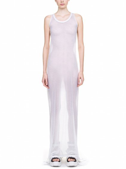RICK OWENS MEMBRANE GOWN TEE BASE IN WHITE