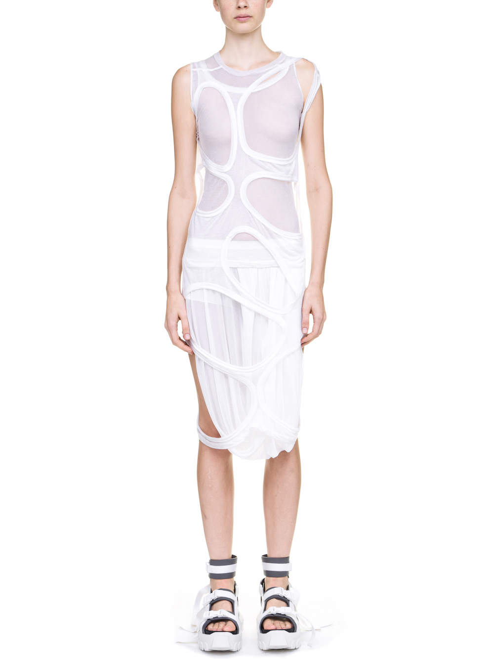 RICK OWENS MEMBRANE DRESS TEE IN WHITE
