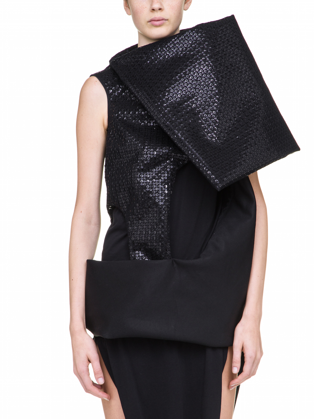 RICK OWENS PSILOCYBIN TUNIC IN BLACK WITH BLACK SEQUIN DETAILS