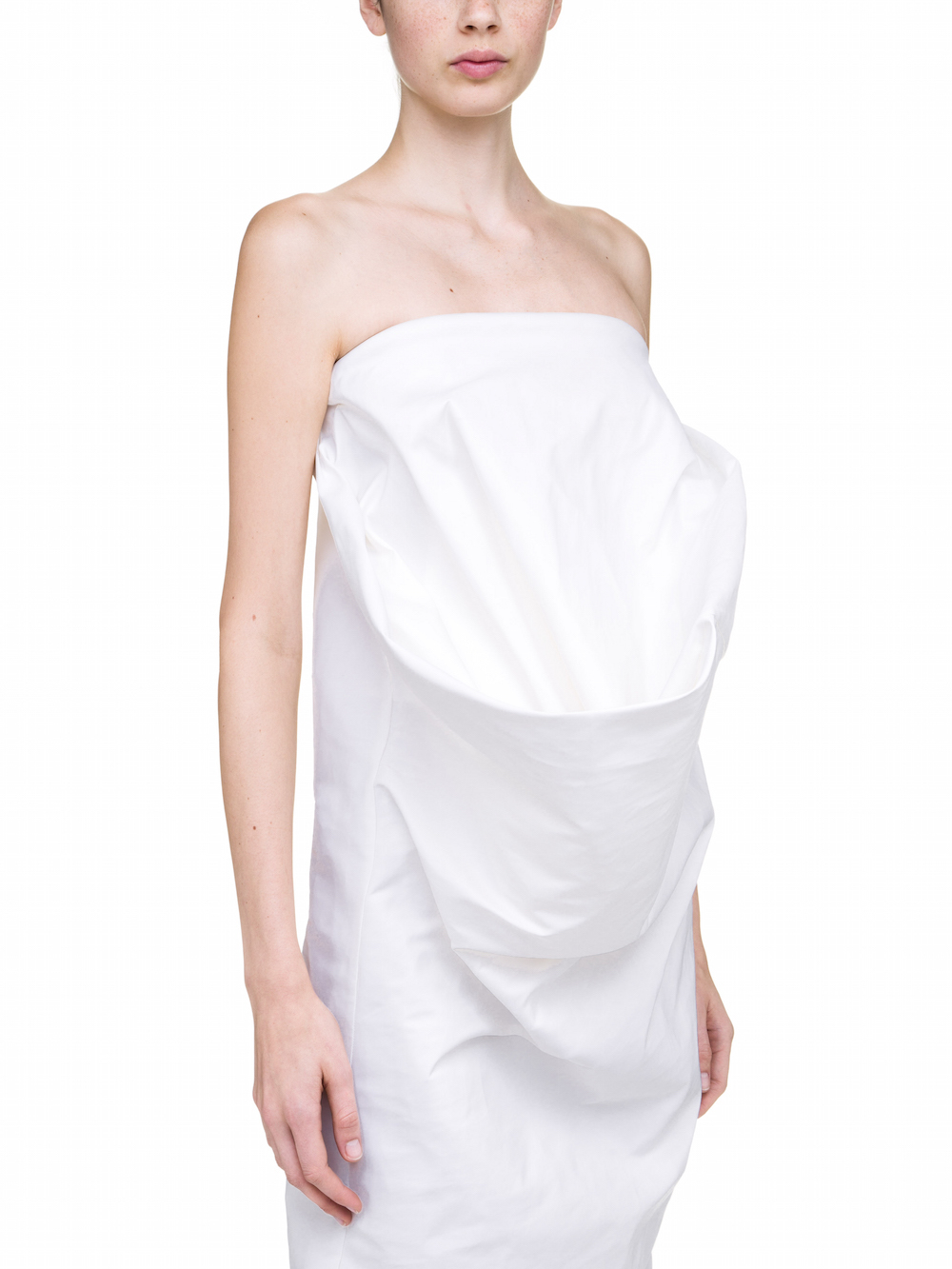 RICK OWENS THAYAHT STRAPLESS DRESS IN WHITE