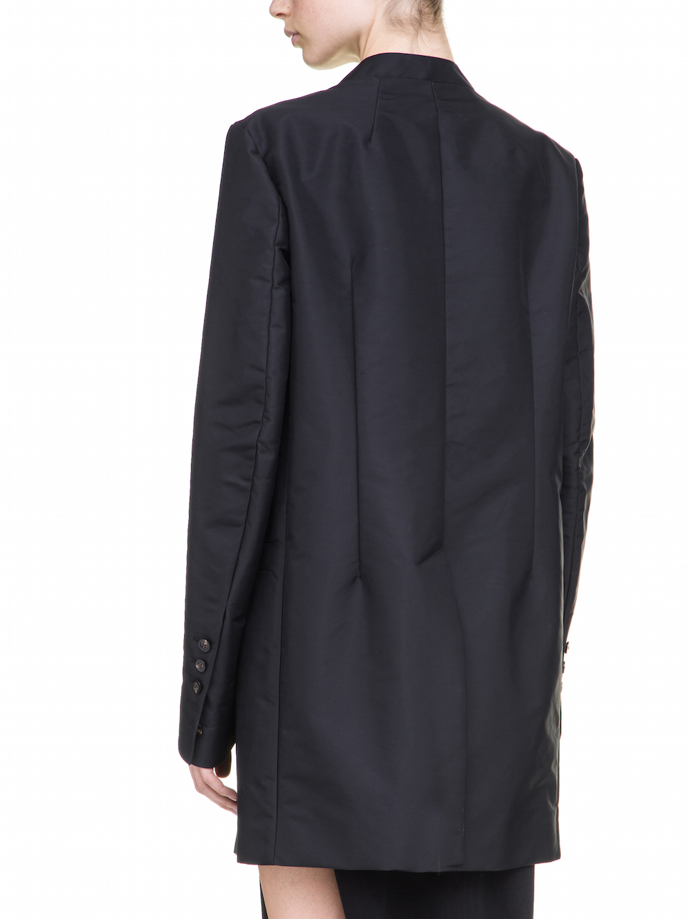 RICK OWENS BROTHER BLAZER IN BLACK WITH GEOMETRICAL PATCHWORK