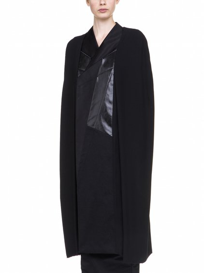 RICK OWENS SHORT CAPE WITH  GEOMETRICAL PATCHWORK