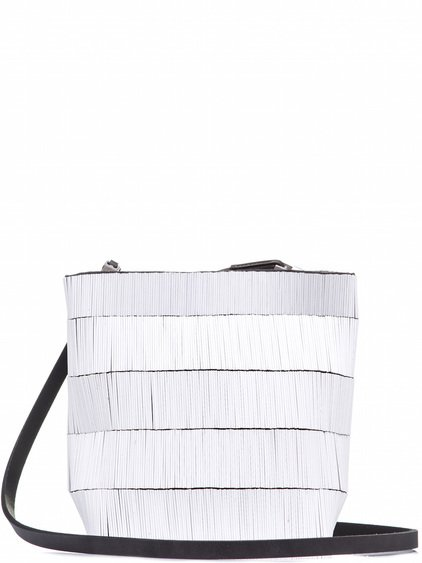 RICK OWENS SMALL ADRI BAG COVERED WITH WHITE BUGLE BEADS