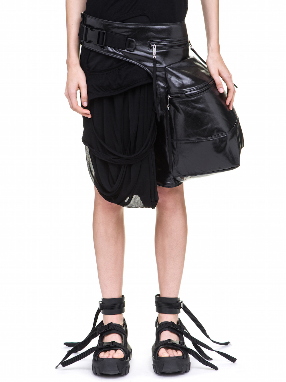 RICK OWENS CARGO CHAP IN BLACK IS A MEDIUM SIZE WAIST POUCH