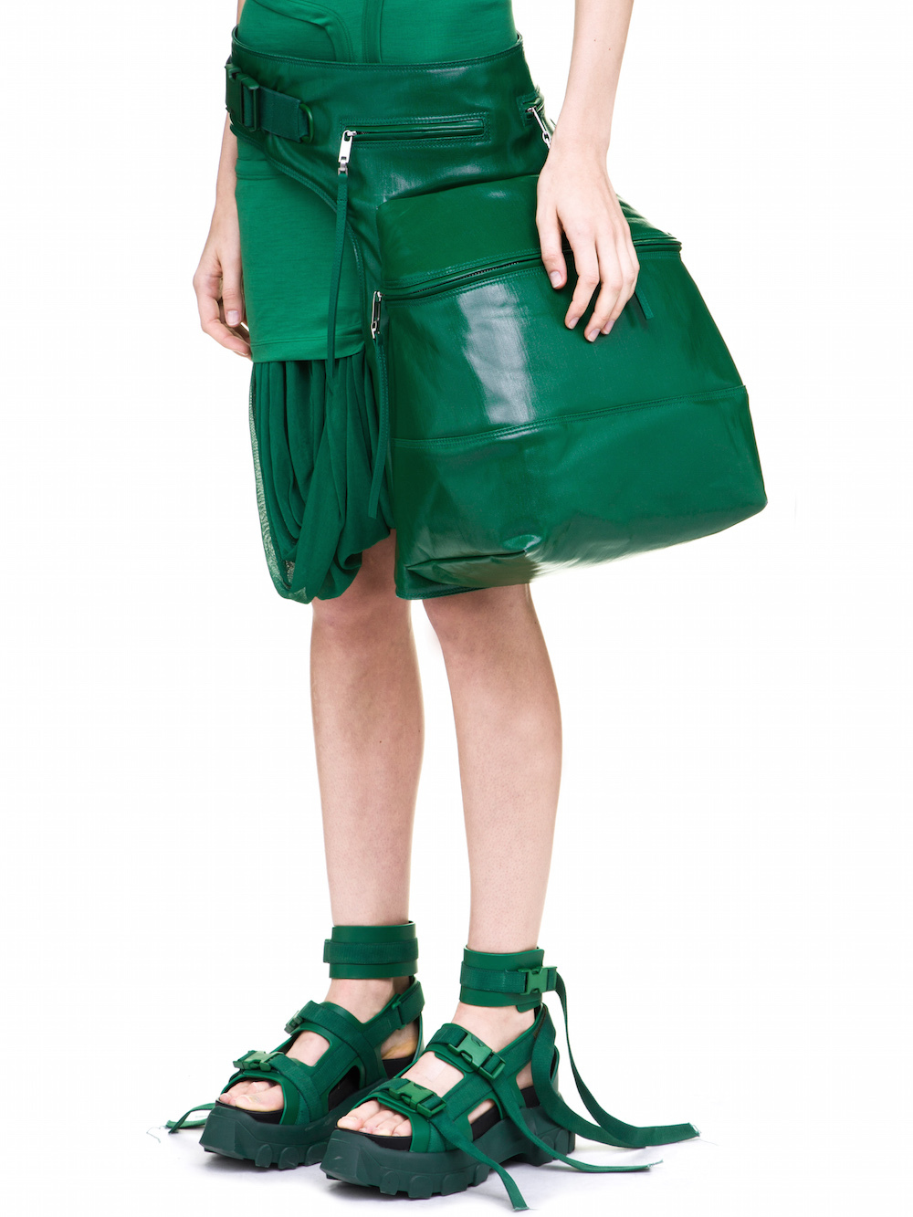 RICK OWENS CARGO CHAP IN GREEN