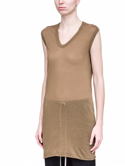 RICK OWENS V NECK SLEEVELESS TEE IN BROWN