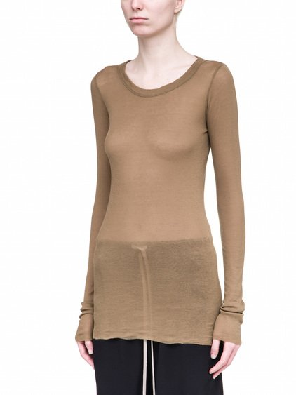 RICK OWENS LONG SLEEVES RIB TEE IN BROWN