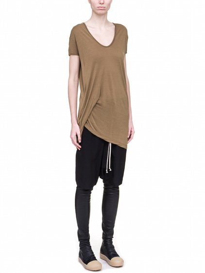 RICK OWENS HIKED TEE IN FERN BROWN