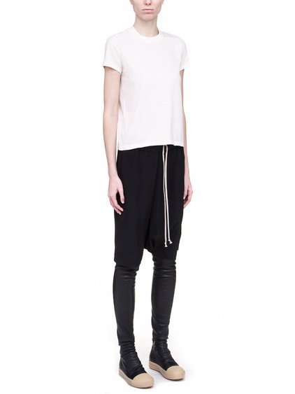RICK OWENS SHORT SHORTSLEEVES LEVEL TEE IN WHITE