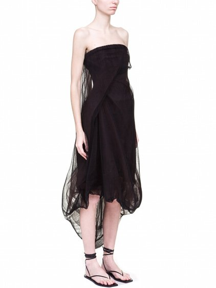 RICK OWENS TWIST STRAPLESS DRESS IN BLACK MIX TULLE