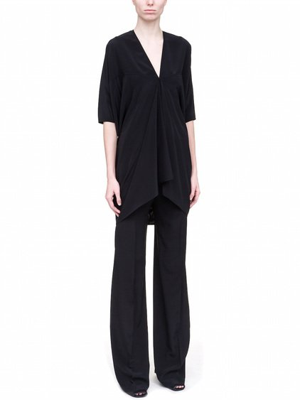 RICK OWENS KITE TUNIC IN BLACK SILK CREPE