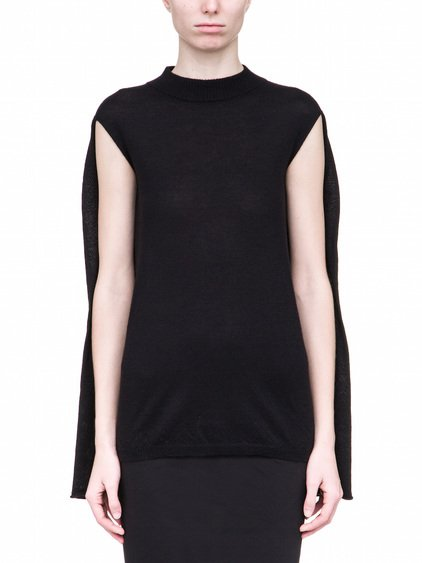 RICK OWENS SOFT LUPETTO CAPE SLEEVE IN BLACK CASHMERE