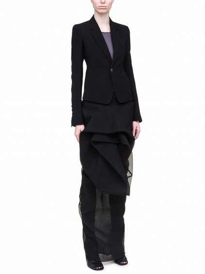 RICK OWENS SHORT BLAZER IN BLACK WOOL VISCOSE