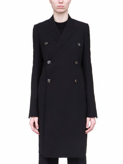 RICK OWENS JMF PEACOAT IN BLACK WOOL