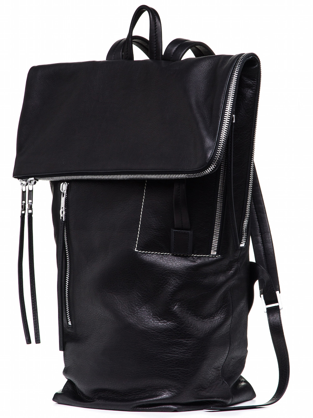 RICK OWENS DUFFLE BACKPACK IN BLACK CALF LEATHER