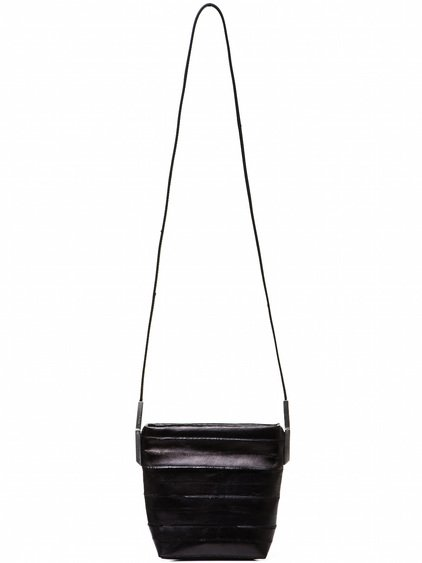RICK OWENS SMALL ADRI BAG IN BLACK LACQUERED EEL LEATHER
