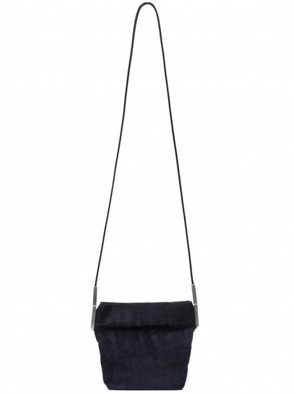 RICK OWENS SMALL ADRI BAG IN BLACK BLISTER LAMB LEATHER