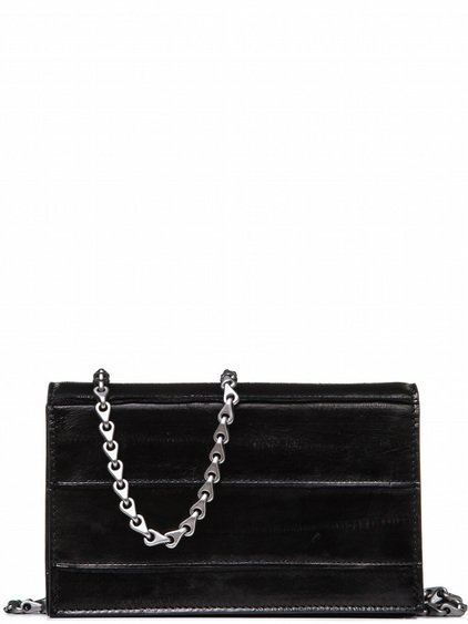 RICK OWENS FLAT WALLET SMALL IN BLACK LACQUERED EEL LEATHER IS RECTANGULAR