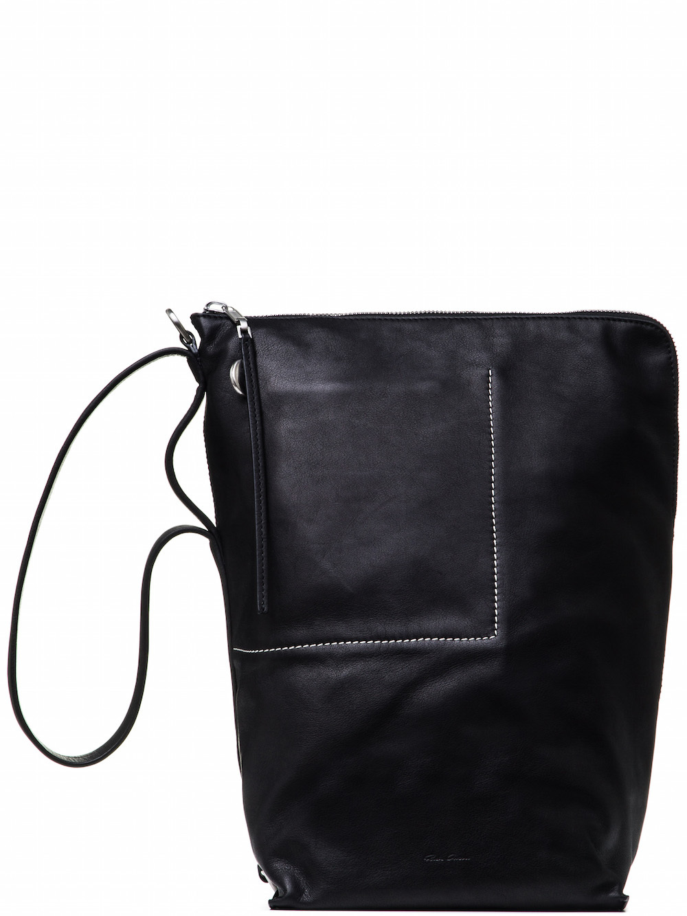 RICK OWENS BUCKET BAG IN BLACK CALF LEATHER