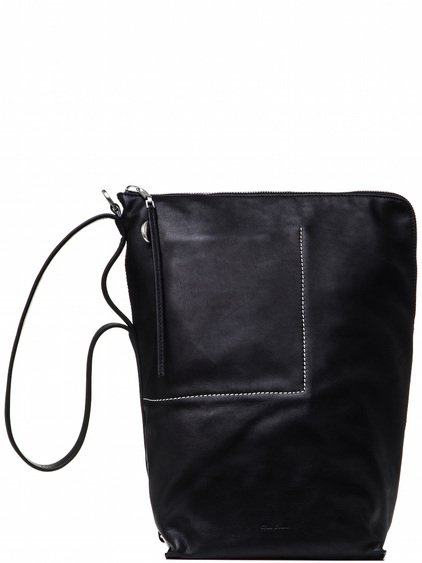 RICK OWENS BUCKET BAG IN BLACK CALF LEATHER