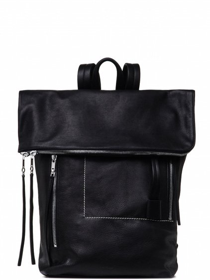 RICK OWENS MEDIUM DUFFLE BACKPACK IN BLACK CALF LEATHER
