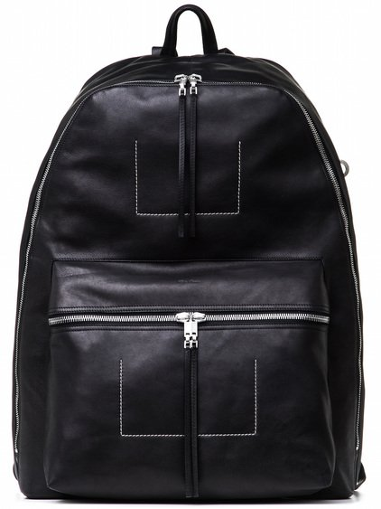 RICK OWENS MEGA BACKPACK IN BLACK CALF LEATHER