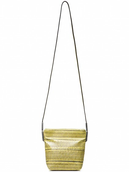 RICK OWENS SMALL ADRI BAG IN ACID YELLOW SNAKE SKIN