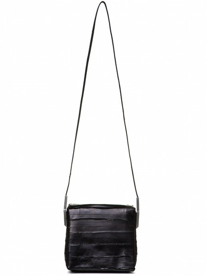 RICK OWENS FLAP ADRI BAG IN BLACK LACQUERED EEL LEATHER