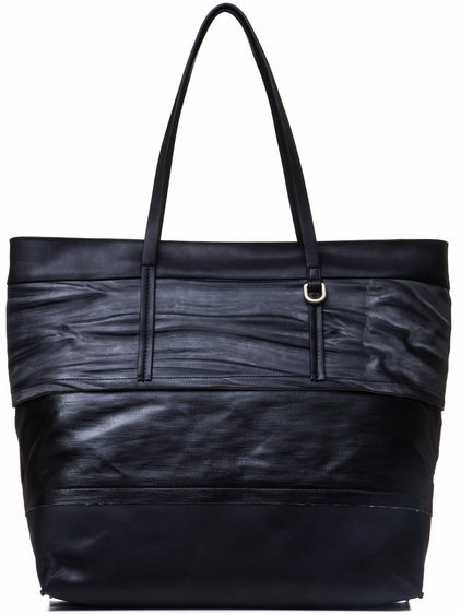 RICK OWENS BIG GLITTER SHOPPER BAG IN BLACK AND DARK STRIPES