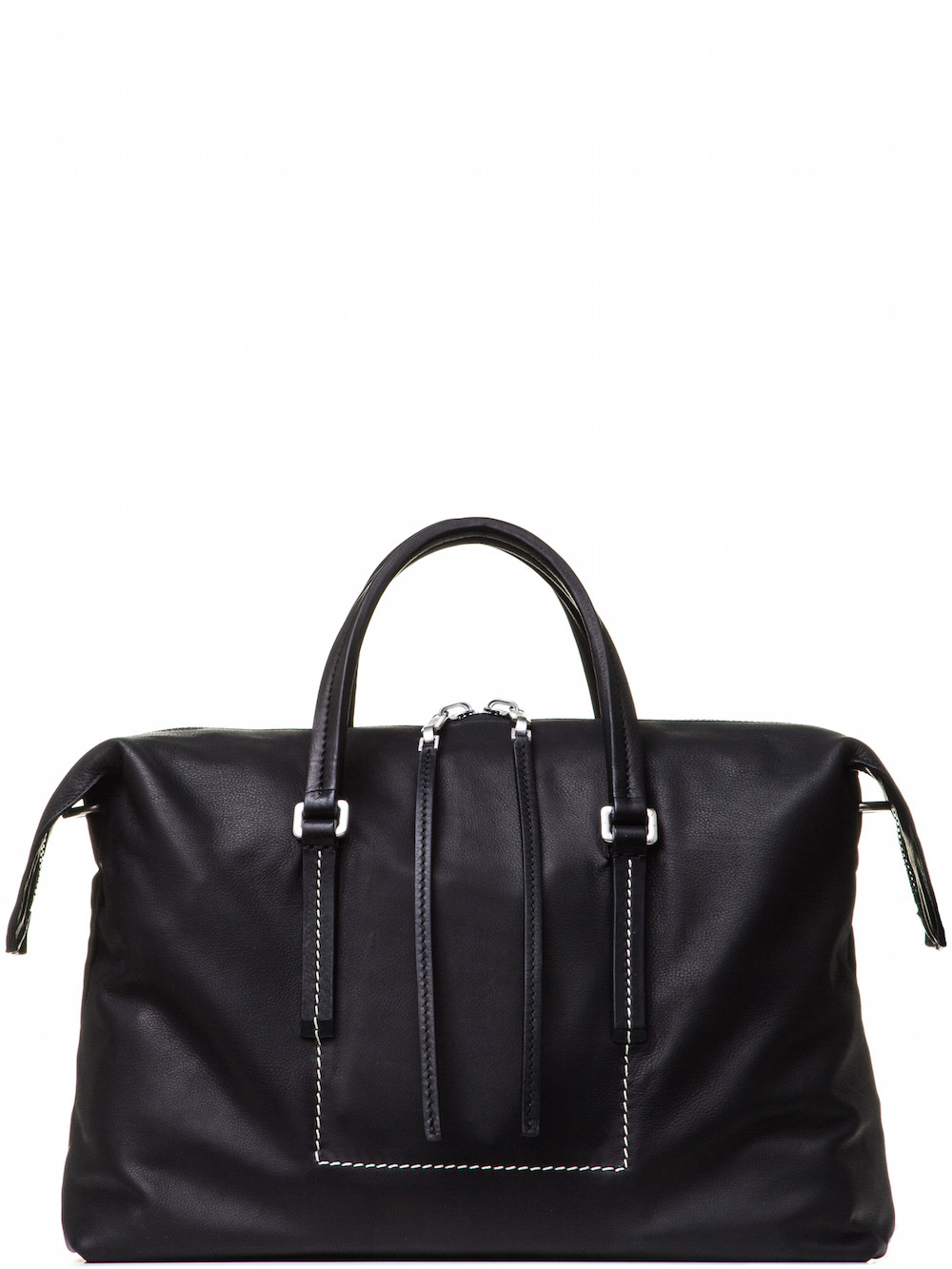 RICK OWENS CITY BAG IN BLACK GRAINY CALF LEATHER