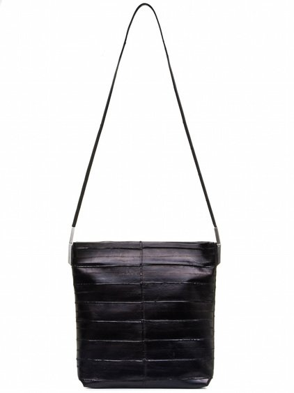 RICK OWENS BIG ADRI BAG IN BLACK LACQUERED EEL LEATHER