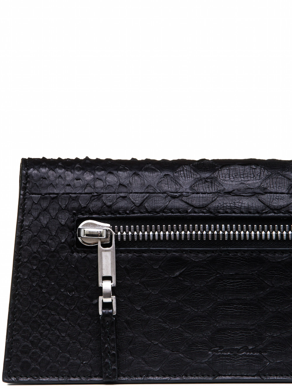 RICK OWENS MIDI CLUTCH IN BLACK GIANT PYTHON LEATHER