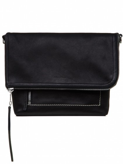 RICK OWENS SMALL MESSENGER BAG IN BLACK CALF LEATHER