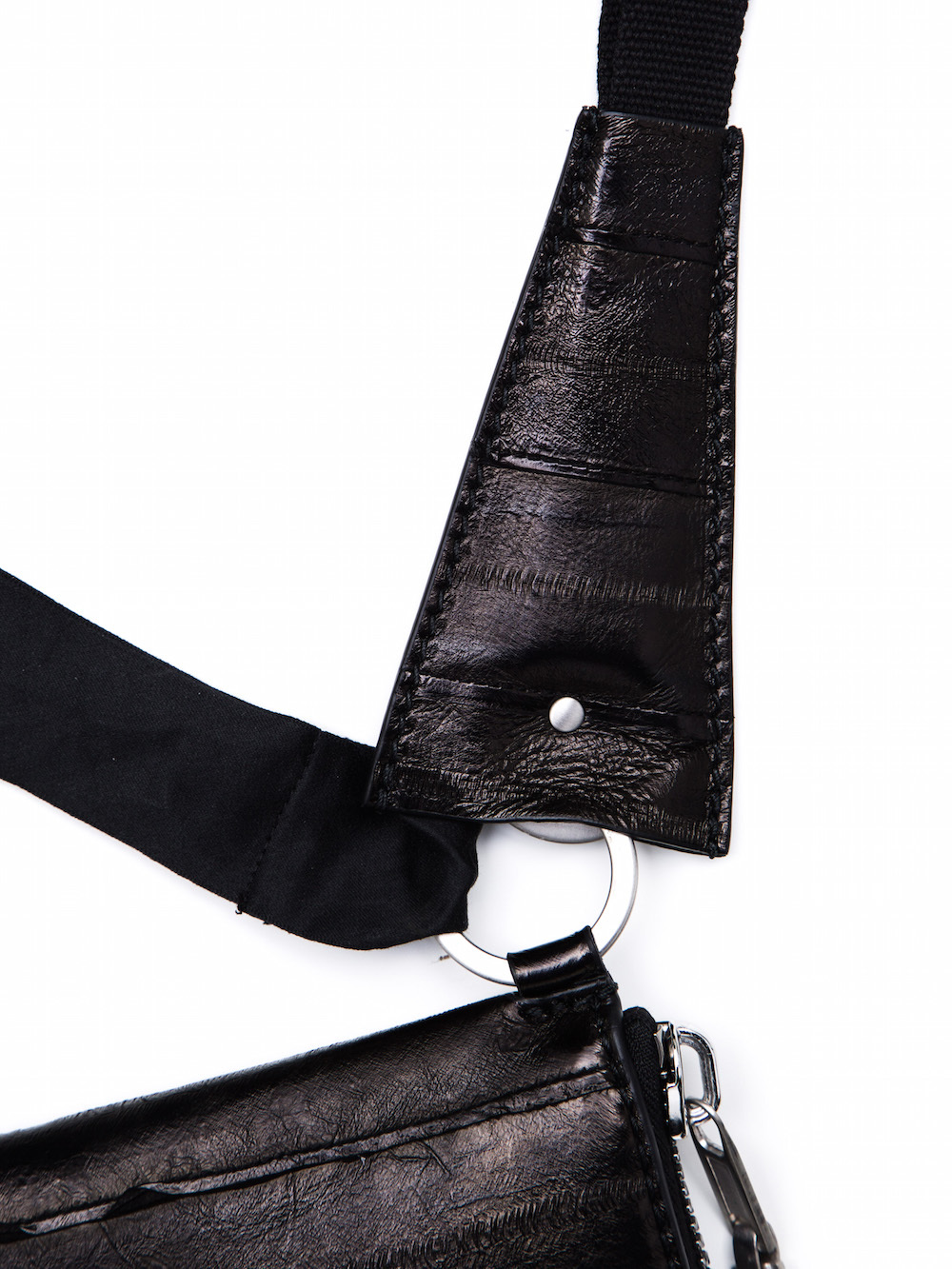 RICK OWENS NECK WALLET IN BLACK LACQUERED EEL SKIN IS RECTANGULAR