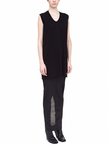 RICK OWENS LILIES TOP IN BLACK COTTON