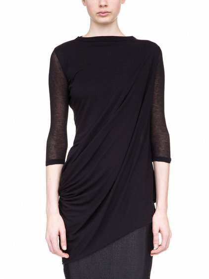 RICK OWENS LILIES 3/4 SLEEVES T-SHIRT IN BLACK COTTON