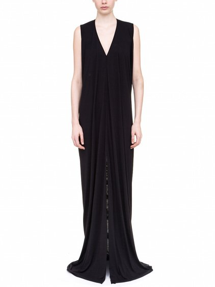 RICK OWENS LILIES SLEEVELESS V NECK GOWN IN BLACK