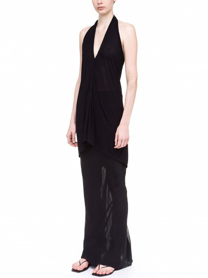 RICK OWENS HALTER TOP IN BLACK VISCOSE SILK JERSEY